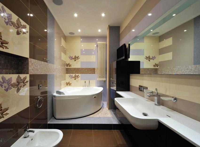 В ванных комнатах хай-тек устанавливают сенсорные термостатические краны