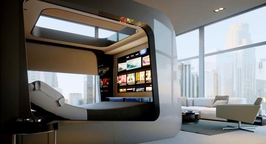 Современные бытовые приборы - это центральные элементы обстановки в стиле хай-тек