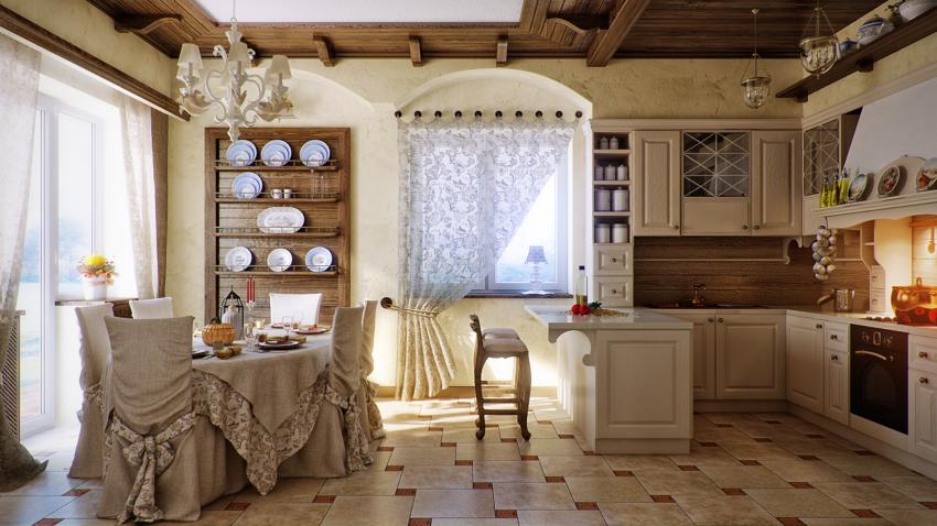 Стиль кантри подразумевает много натурального текстиля: легкие занавески, покрывала, вышитые подушки, скатерти с оборками