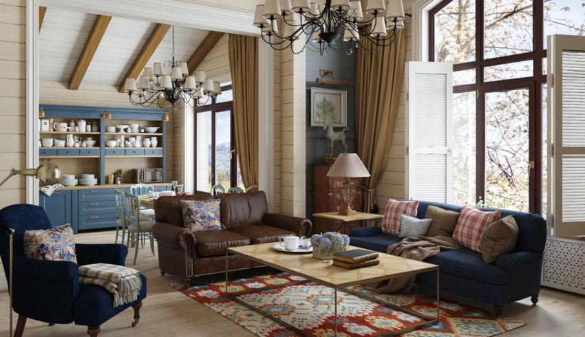 В качестве обивки мебели под стиль кантри используется натуральный трикотаж или кожа