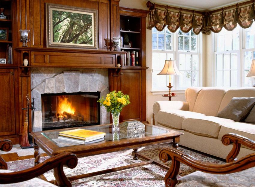 Мебель для английского стиля кантри изготавливается из натуральной древесины темных пород