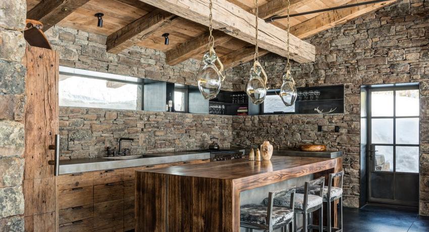 Кухня в стиле кантри, исключает стеклянные столешницы и пластик на потолке