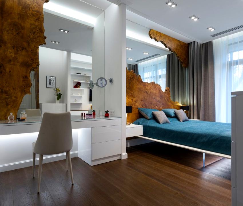 Стиль минимализм подразумевает использование текстиля преимущественно в спальне