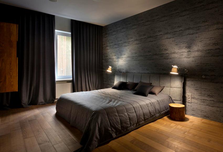 Для окон спальни в стиле минимализм желательно использовать жалюзи или самые простые шторы