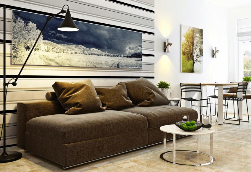 Очень важной чертой минималистической гостиной является правильное освещение