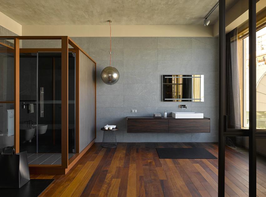 Сантехнику для ванных комнат в стиле минимализм, лучше использовать натуральных оттенков, но нестандартных форм