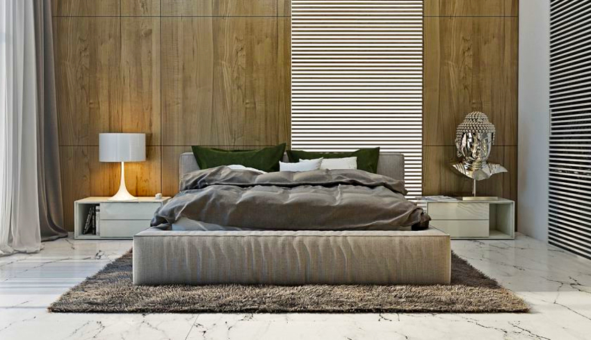 Минималистическому направлению в дизайне интерьера характерны гладкие ткани и изделия с коротким ворсом