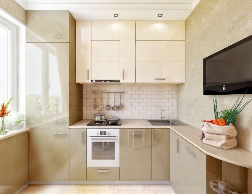 Размещение раковины в углу делает перемещение по кухне более рациональным