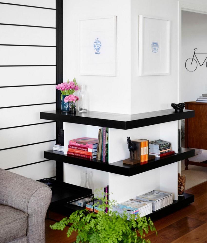 Даже если полка в гостиную выполнена в стиле минимализм, то все равно будет выглядеть достаточно привлекательно