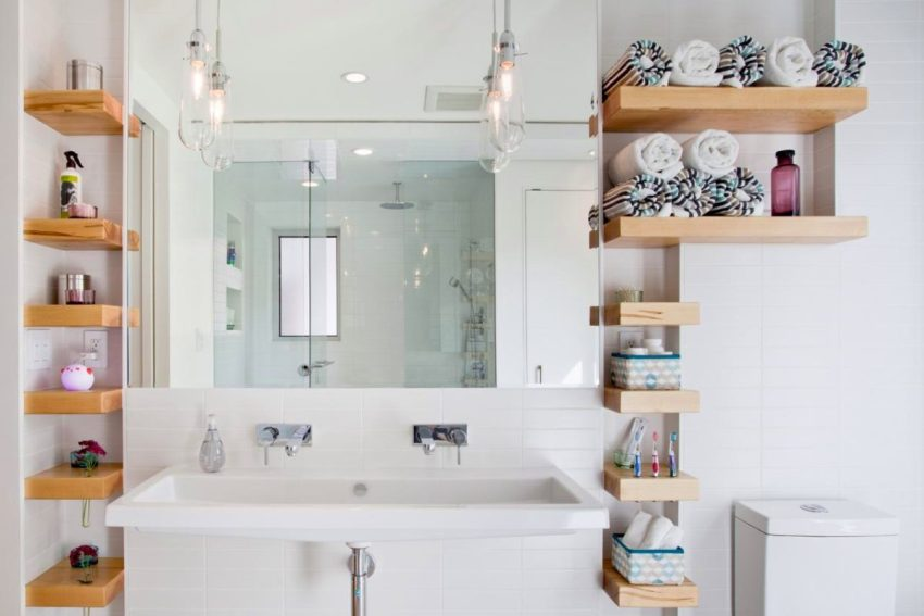 Угловые полки для ванной выполняют основные функции, придавая помещению всевозможные стилистические акценты
