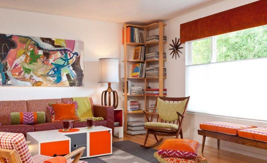 Самым приемлемым решением для гостиной или спальни является угловые полки-стеллажи для книг
