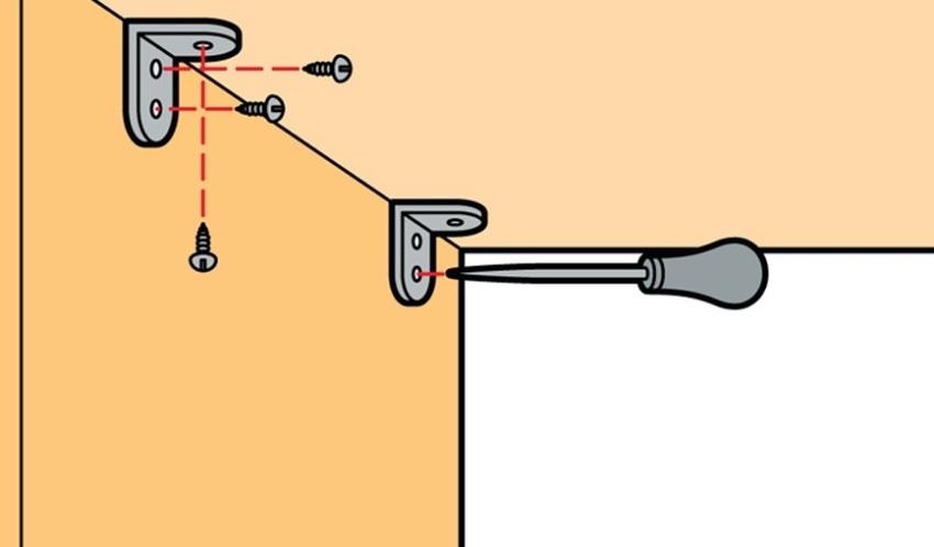 Способ фиксации угловой настенной полки с помощью шурупов