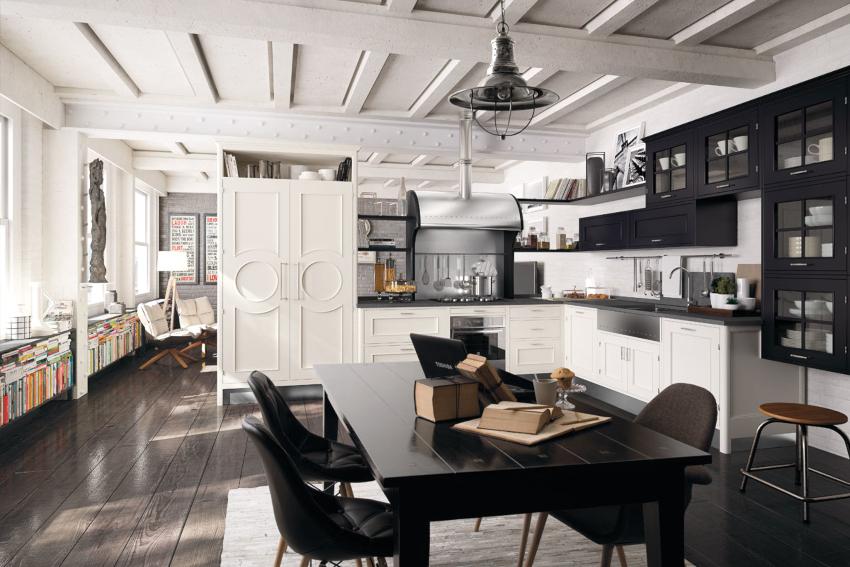 Отличный акцент в дизайне белой кухни – черная столешница