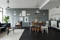 Черно-белая кухня идеально впишется в интерьер квартиры-студии