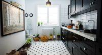 На маленькой черно-белой кухне преимущество должно принадлежать белому цвету