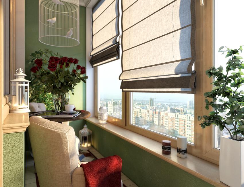 Маленький узкий балкон можно не только сделать частью прилегающей комнаты, но и организовать там небольшое место для отдыха