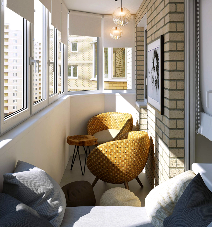 Узкий балкон не рекомендуется отделывать гипсокартоном, так как крадется до 10 см пространства