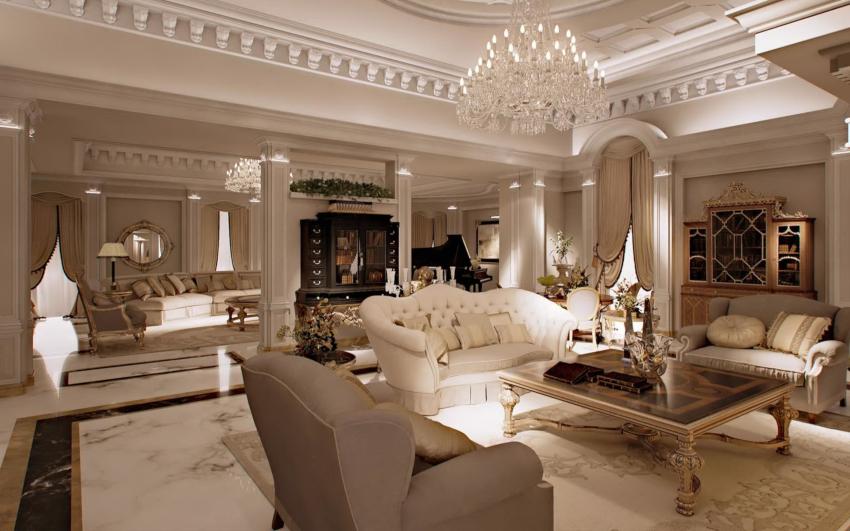 В классической гостиной уместно будут смотреться роскошный диван и журнальный столик на гнутых ножках