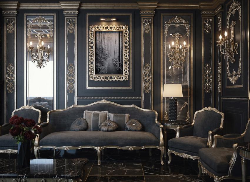 Гармонично впишутся в интерьер классического стиля бронзовые и золотые вставки
