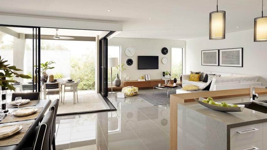 Гостиная в стиле модерн будет смотреться сдержанно, строго, но практично и современно