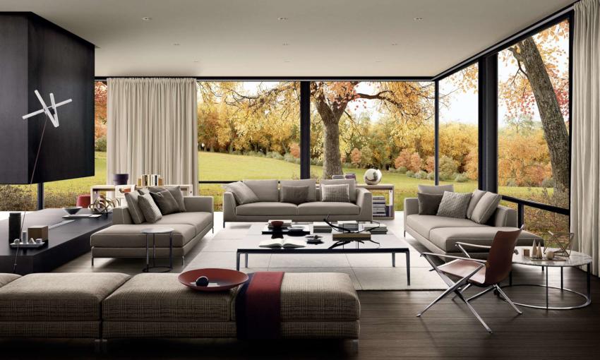 В гостиной модерн должна располагаться модульная многофункциональная мебель, лишенная острых углов