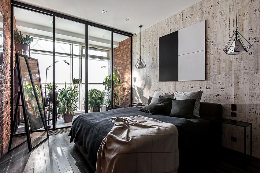 Спальня в стиле лофт должна быть обособленна от остальных зон