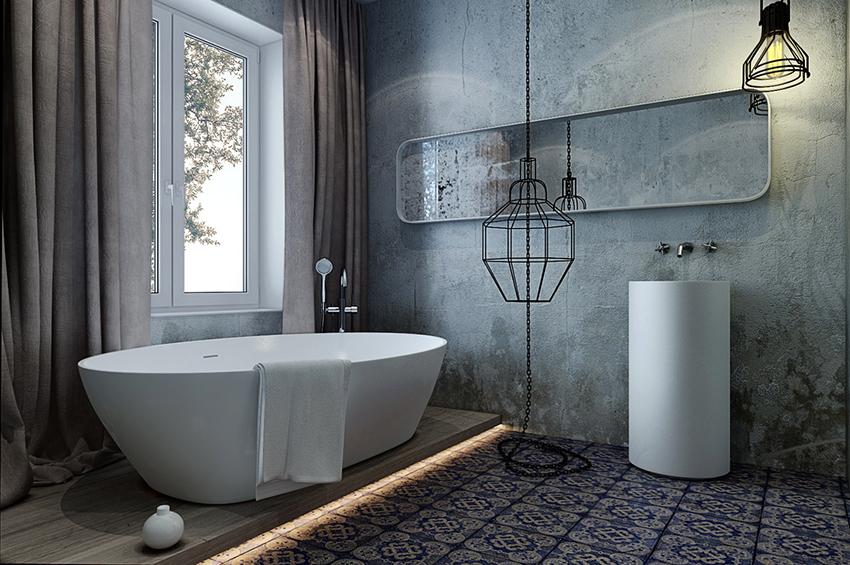 Ванную комнату лофт можно отделать плиткой под бетон или кирпич