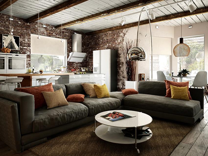 В помещении должны присутствовать необычные детали, отражающие характер жилья в стиле лофт