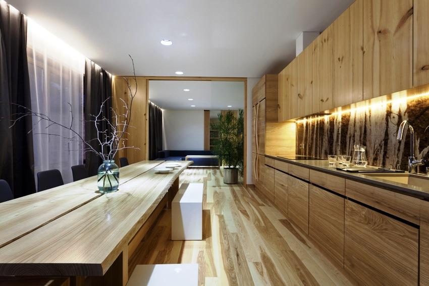 Гостиная, совмещенная с кухней – это вполне разумное и стильное решение для помещения выполненного в экостиле