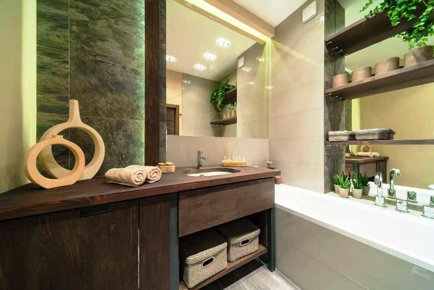 Пространство ванной комнаты, выполненной в экостиле, должно быть максимально открытым, просторным, чтобы в нем ощущалось умиротворение и покой
