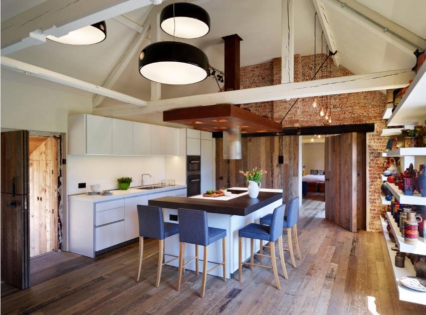 Линейное размещение кухонной мебели – самый простой и оптимальный вариант