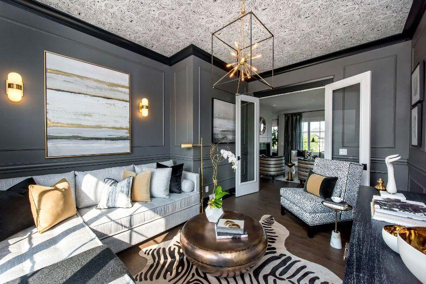 Для оформления красивых гостиных в современном стиле часто используют разные оттенки серого