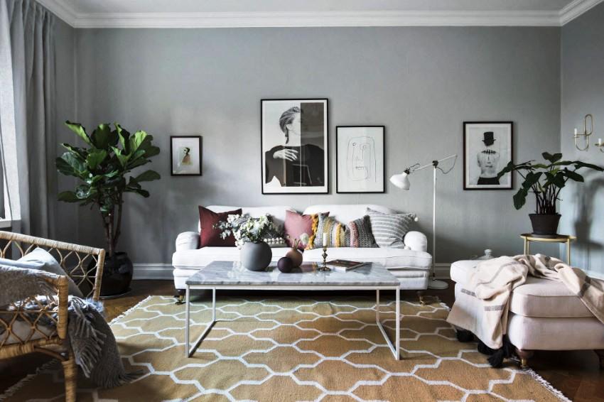 В интерьере гостиной в современном стиле нет ограничений в использовании того или иного вида декора