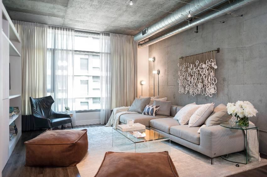 В современной стилистике гостиной немало заимствовано от минимализма