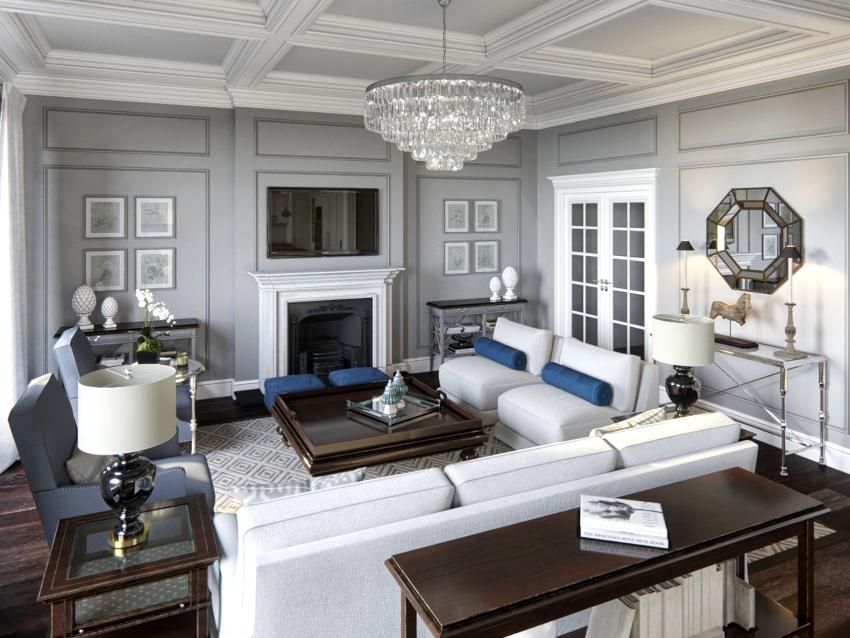 Большинство стилей интерьера гостиной предполагают наличие белого потолка