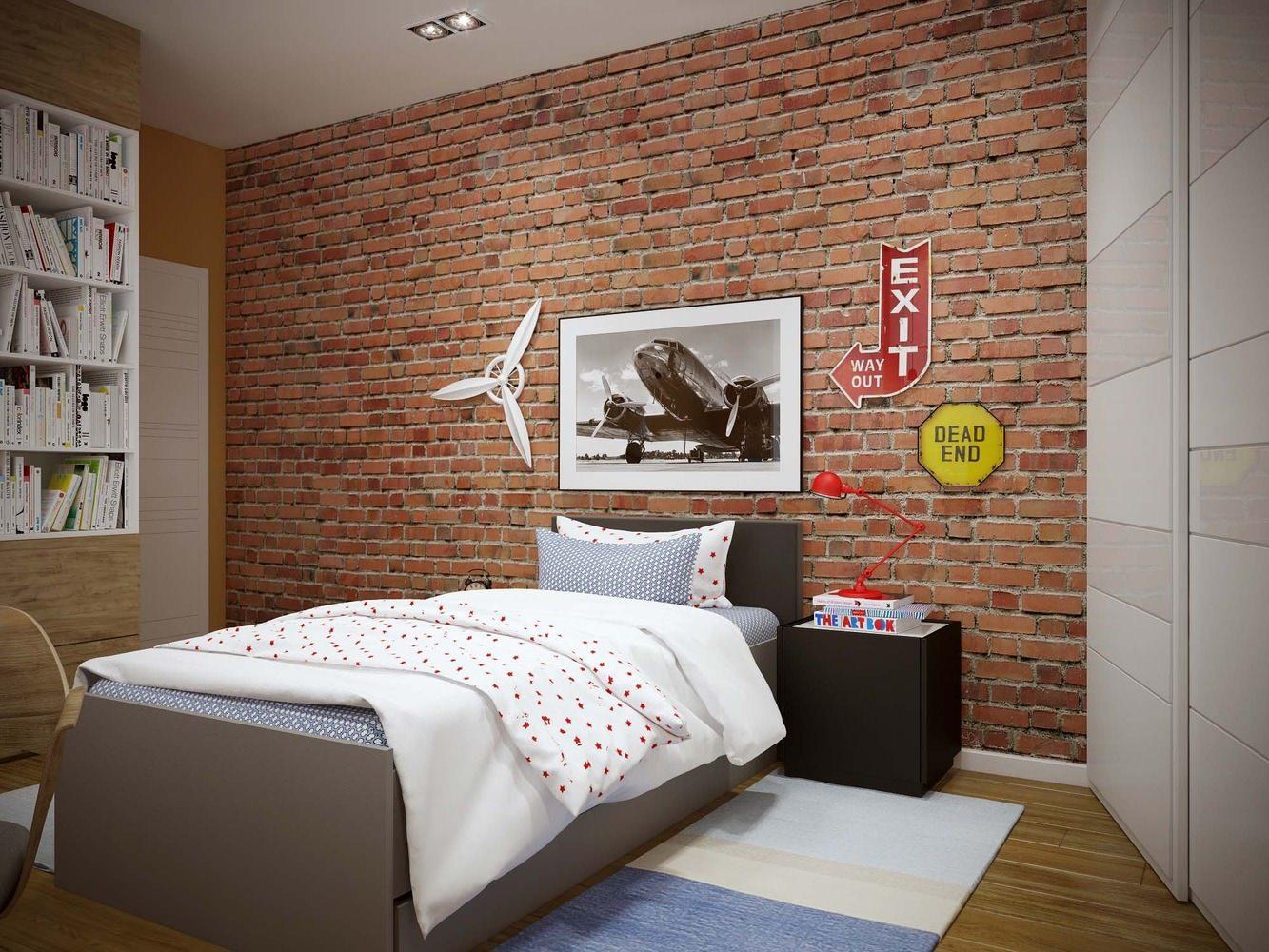Комната для мальчика подростка в стиле лофт украшается изображениями супергероев, ретро-машин, дорожными знаками, витражными табличками