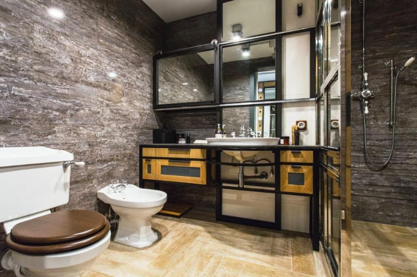 Стиль лофт помогает оформить интерьер ванной максимально простым, но в то же самое время технологичным