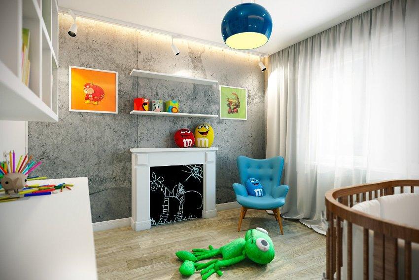 Детская комната в стиле лофт подойдет для ребенка любого возраста