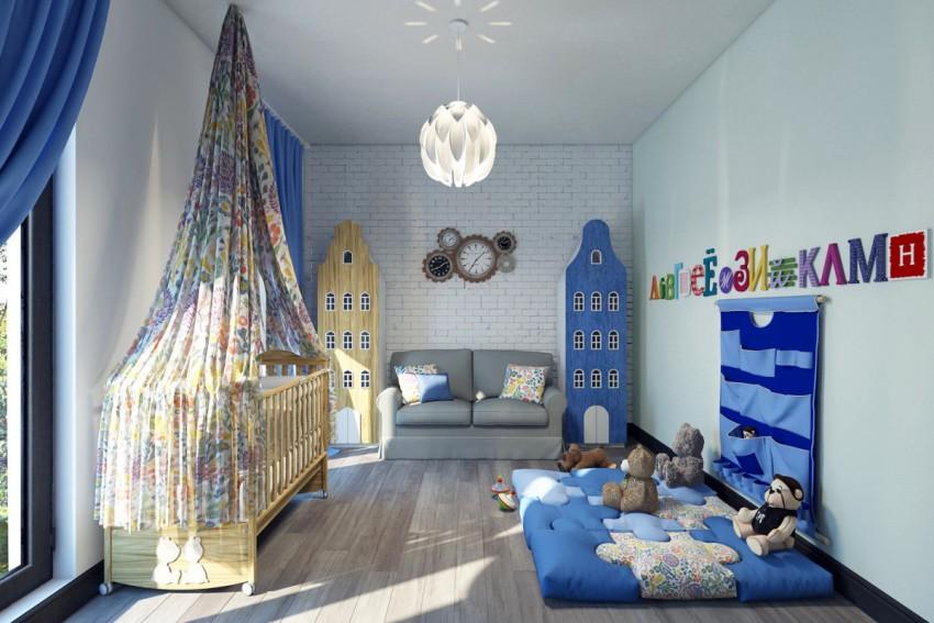 Для отделки комнат в стиле лофт обычно используют холодные цвета: оттенки синего, серебряный, металлический