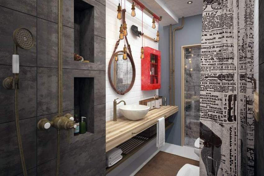 Стиль лофт в интерьере ванной комнаты — это полет фантазии без строгих рамок и правил
