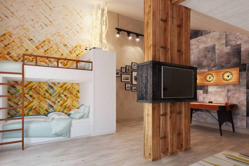 Оформляя детскую комнату в стиле лофт, рекомендуется применять натуральные материалы