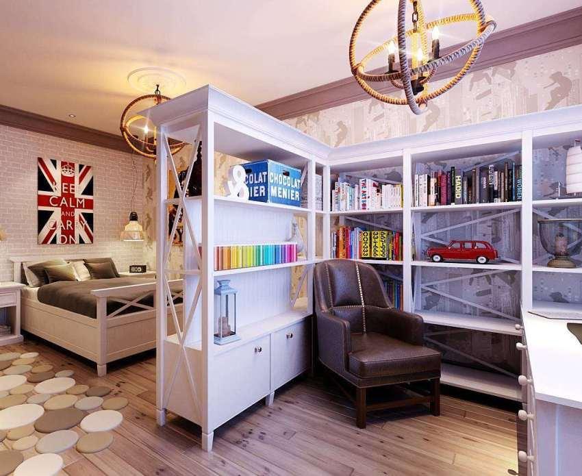 На зоны комнату делят с помощью различных материалов для отдельных сегментов стен и пола, а также с помощью мебели