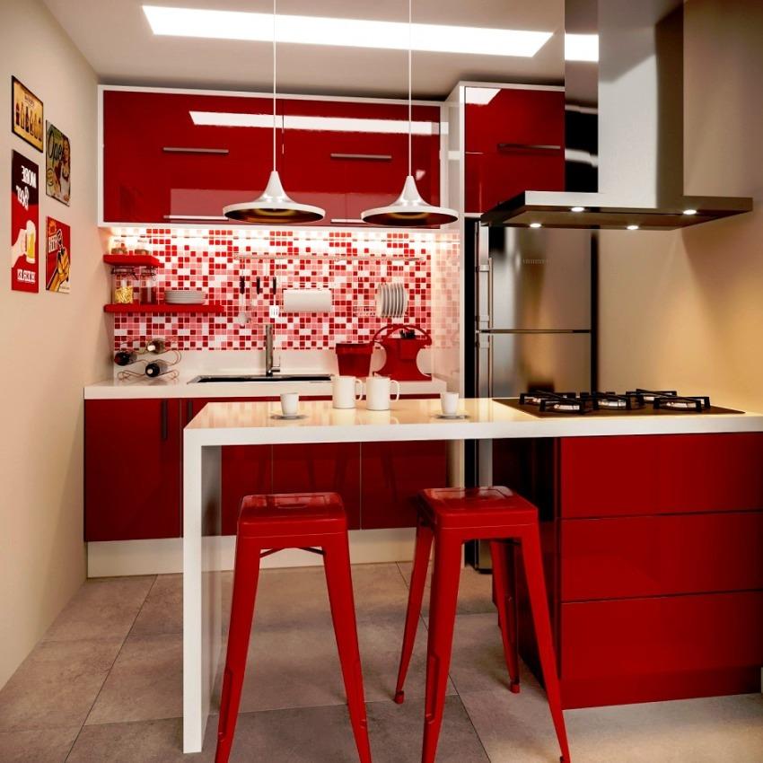 Удачным будет оформление кухни в вишневом цвете, который тоже считается оттенком бордового