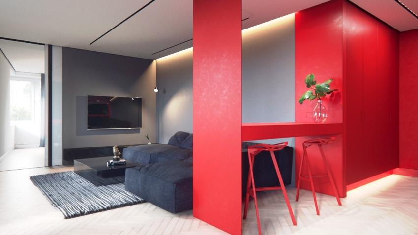 Избыток красного даже в очень просторном помещении может утомлять, вызывать дискомфорт и раздражение