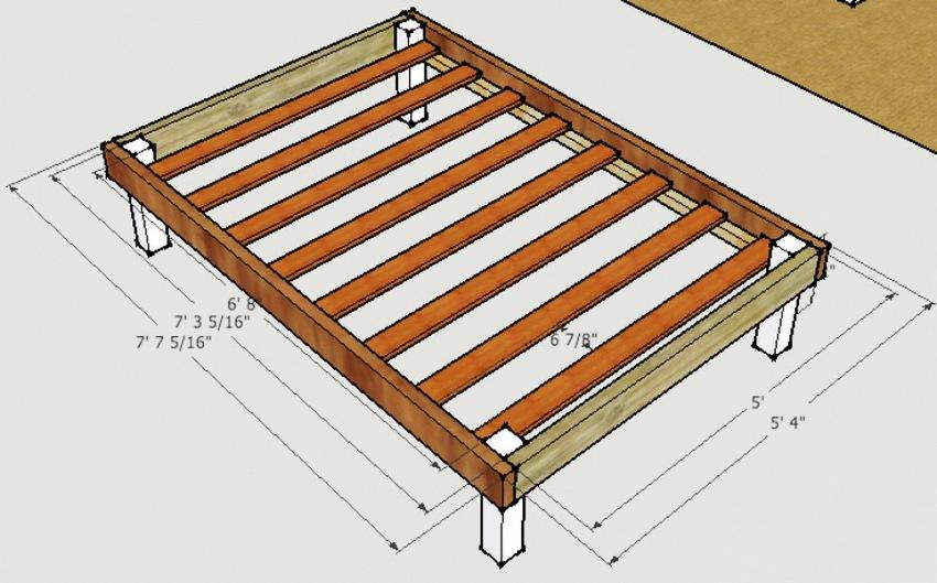 Схема изготовления деревянной кровати