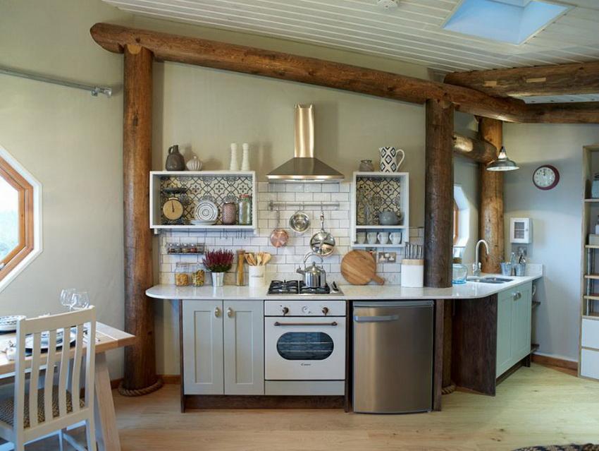 На кухне с небольшой площадью следует расположить только необходимый минимум элементов