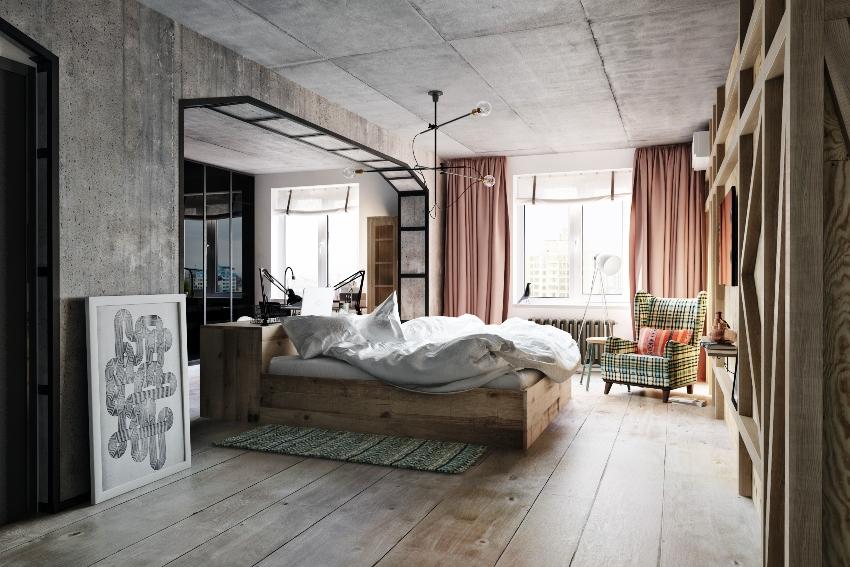 Для спальни в стиле лофт лучше использовать светлую цветовую гамму, например белый, бежевый, серый цвета