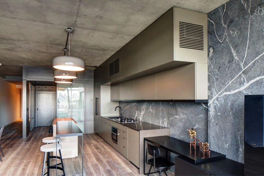 Кухня в стиле лофт должна быть минималистична, как в мебели так и подборе обоев
