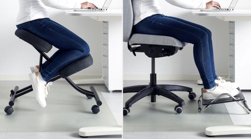 Еще одним вариантом является ортопедический стул без спинки с установленным на подвижном шарнире сиденьем