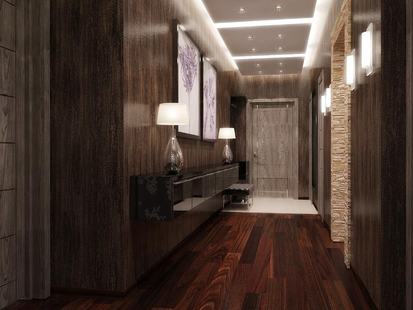 Коричневый и шоколадный цвета хорошо использовать в прихожей с небольшим количеством мебели